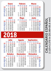 Spanish pocket calendar for 2018, standard size ISO 7810 ID-1, vector template