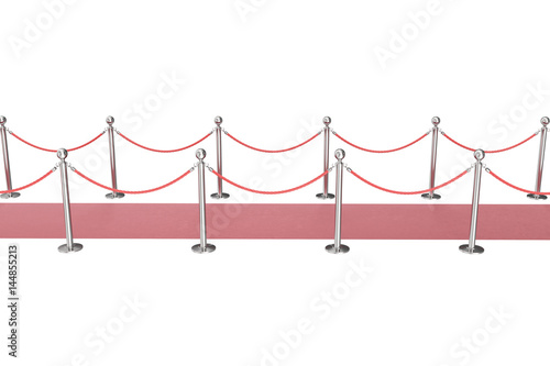 Red event carpet isolated on white background, between two rope