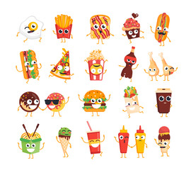 Fast Food Characters - vector set of mascot illustrations.
