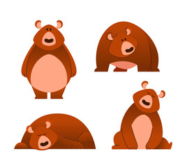 Bear - modern vector set of flat cartoon animal characters. Different poses and emotions.