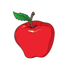 Red cartoon apple with green leaf isolated on white background - vector illustration