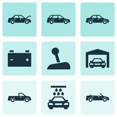 Car Icons Set. Collection Of Hatchback, Carriage, Fixing And Other Elements. Also Includes Symbols Such As Convertible, Stick, Fixing.