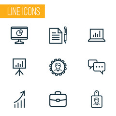 Trade Outline Icons Set. Collection Of Agreement, Whiteboard, Identification And Other Elements. Also Includes Symbols Such As Manager, Leader, Board.