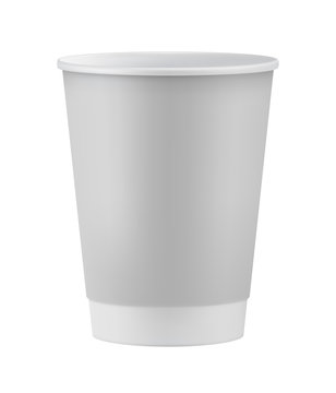 Realistic white paper coffee cup isolated on white background vector illustration. Packaging design element for branding.