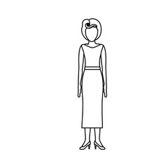 contour body faceless woman with blouse and long skirt retro style vector illustration