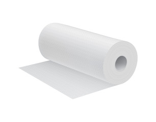 Realistic white paper kitchen towel isolated on white background vector illustration.