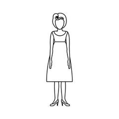 contour body faceless woman with silhouette dress retro style vector illustration