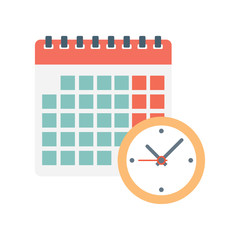 calendar and clock icon.
