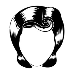silhouette drawing of faceless woman with pin up swirl hairstyle vector illustration