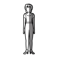 silhouette shading body faceless woman with t-shirt and pants retro style vector illustration