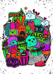 Hipster Hand drawn happy doodle Monster group drawing style.Vect