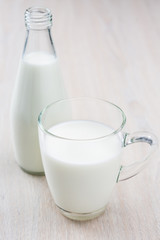 Milk on the wooden table