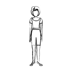 blurred sketch contour body faceless woman with t-shirt and shorts retro style vector illustration