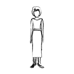 blurred sketch contour body faceless woman with blouse and long skirt retro style vector illustration