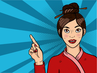 Chinese girl in pop art. Young sexy asian woman with open mouth. Chopsticks on head.