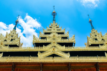 The temple roof decorated with beautiful golden patterns. The temple is place of religious importance and public place for general people either Thai people and foreign visitors.