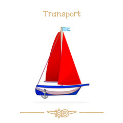 Illustration series cartoon transport: Sailboat toy. Red sail
