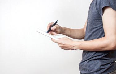 Businessman using a digital notebook