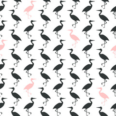 Black and white with pink seamless pattern. Symmetrically arranged silhouettes of the stork.