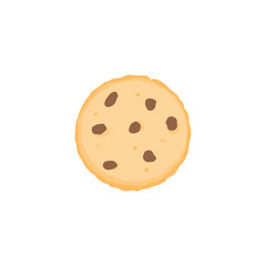 Chocolate chip cookie icon, flat design