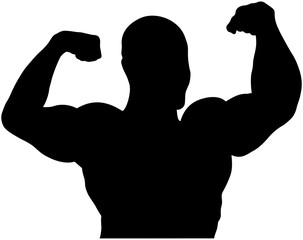 athlete bodybuilder back double biceps bodybuilding competitions black silhouette