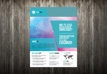 Business Flyer with Blue Angular Accents and Map