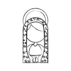 monochrome sketch contour of half body faceless virgin of guadalupe vector illustration