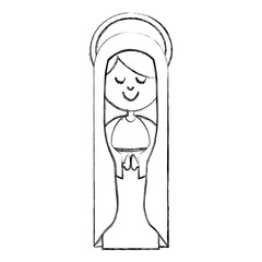 monochrome sketch contour of virgin with mantle and aura vector illustration