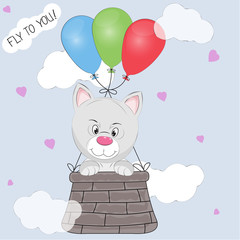 Greeting card the  cat cub flies in a basket tied to balloons.