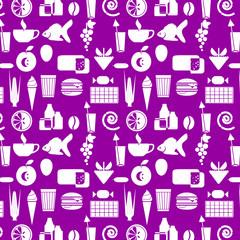 орнамент из силуэтов продуктов питания, векторная иллюстрация