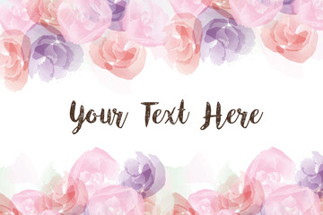 Group of colorful roses, watercolor flower in paint style background with text and copyspace