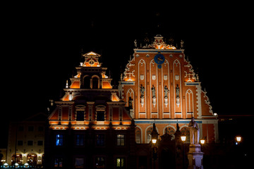 Riga, Latvia - April 16, 2017: The House of the Blackheads at night. The famous old building in Riga, Latvia