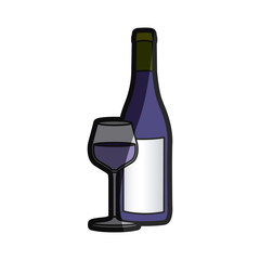 color silhouette with bottle of wine and glass vector illustration