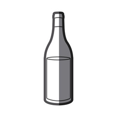 grayscale silhouette with bottle of wine side back vector illustration