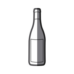 grayscale silhouette with bottle of wine with label vector illustration