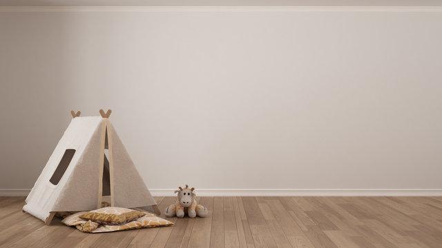 Kids minimalist white background with child tent, blanket pillow and toy on parquet flooring, child room nursery interior design