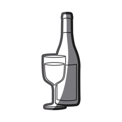 grayscale silhouette with bottle of wine and glass vector illustration