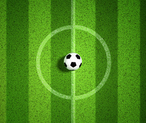 3D Rendering of top view soccer ball on center of soccer field