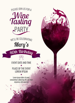 Invitation template for event or party. Suitable for tasting events or wine presentation.