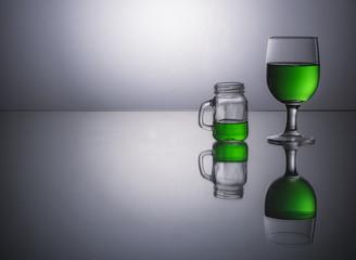 Green Wine Reflection
