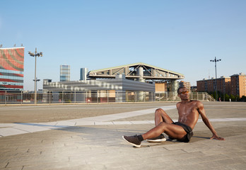 young athlete in urban environment