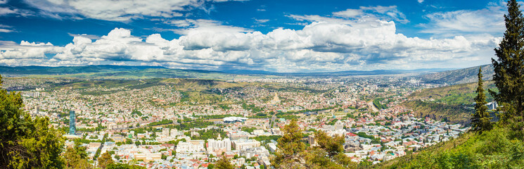 Tbilisi, Georgia. Scenic Aerial View, Panorama, Cityscape With