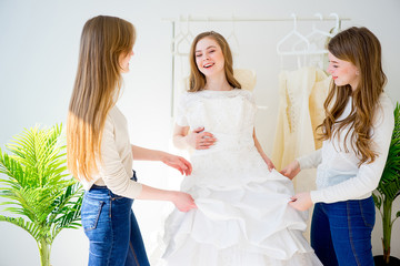 Woman choosing a wedding dress