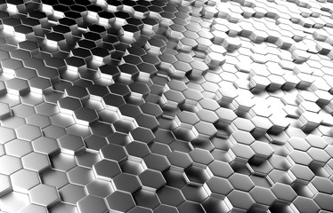 3D Rendering of abstract silver hexagon background