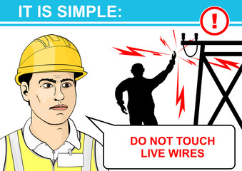 Electrical and high voltage hazards. Flat vector.