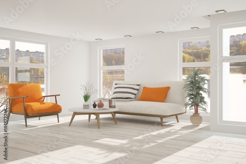 White room with sofa and urban landscape in window for Interior designer gesucht