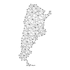 Map of Argentina from polygonal black lines and dots of vector illustration