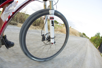 First person view on a sport bicycle