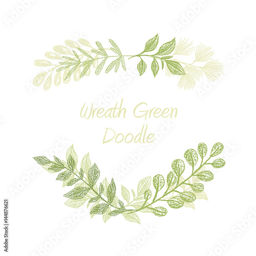 Green Floral Doodle Branch Border Vector, Greeting, Invitation Or