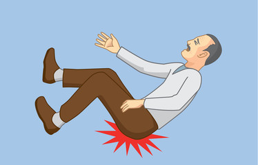 Old man with falling accidents and hip hit to the ground. Illustration about health of senior.
